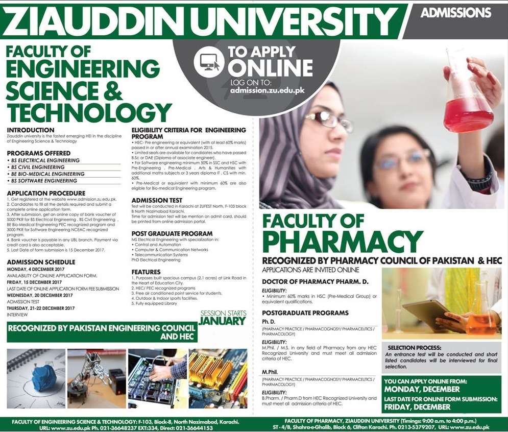 Ziauddin University Karachi Admissions 2019 Form, Fee Structure