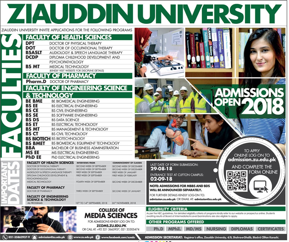Ziauddin University Pharm D Admissions 2018 Form, Last Date