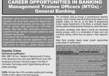 Allied Bank Karachi Management Trainee Officer Jobs 2018 Apply Online