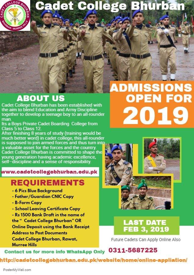 Cadet College Bhurban Admission 2019 Form, Entry Test Result