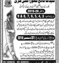 Cadet College Ghora Gali Murree Admission 2019 Form, Entry Test Result