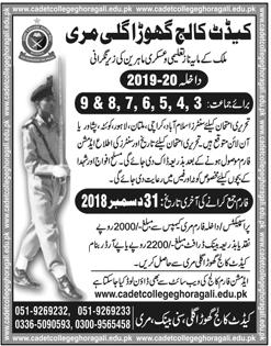 Cadet College Ghora Gali Murree Admission 2019 Form