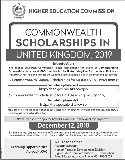 Commonwealth Scholarships UK 2019