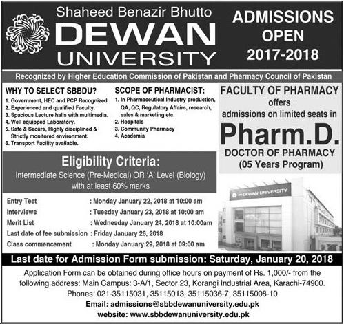 Dewan University Pharm D Admissions 2018 Form Entry Test Result Merit List