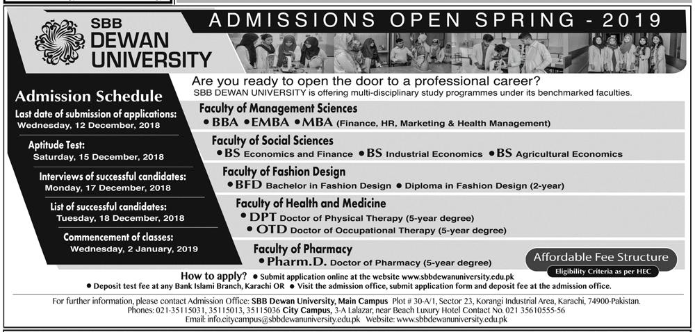 Dewan University Pharm D Admissions 2019