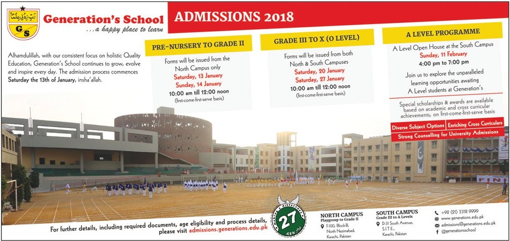 Generation School Karachi Admission 2018 Form, Last Date, Fee Structure