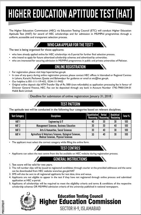 HEC ETC HAT Test 2019 Registration Form Online Download Last