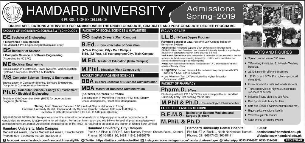 Hamdard University Spring Admission 2019