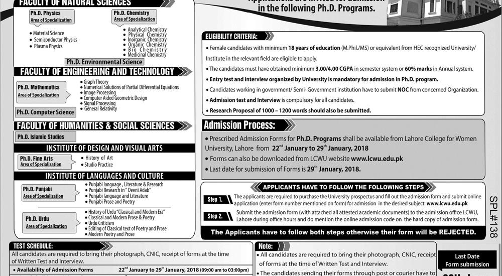 LCWU PhD Admission 2019 Form Entry Test Date Merit List