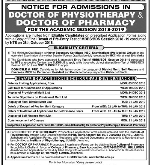 Liaquat University Jamshoro Pharm D Admission 2019