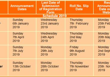 NTS GAT Test Schedule 2019