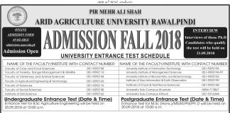 PMAS Arid Agriculture University Rawalpindi Admission 2018