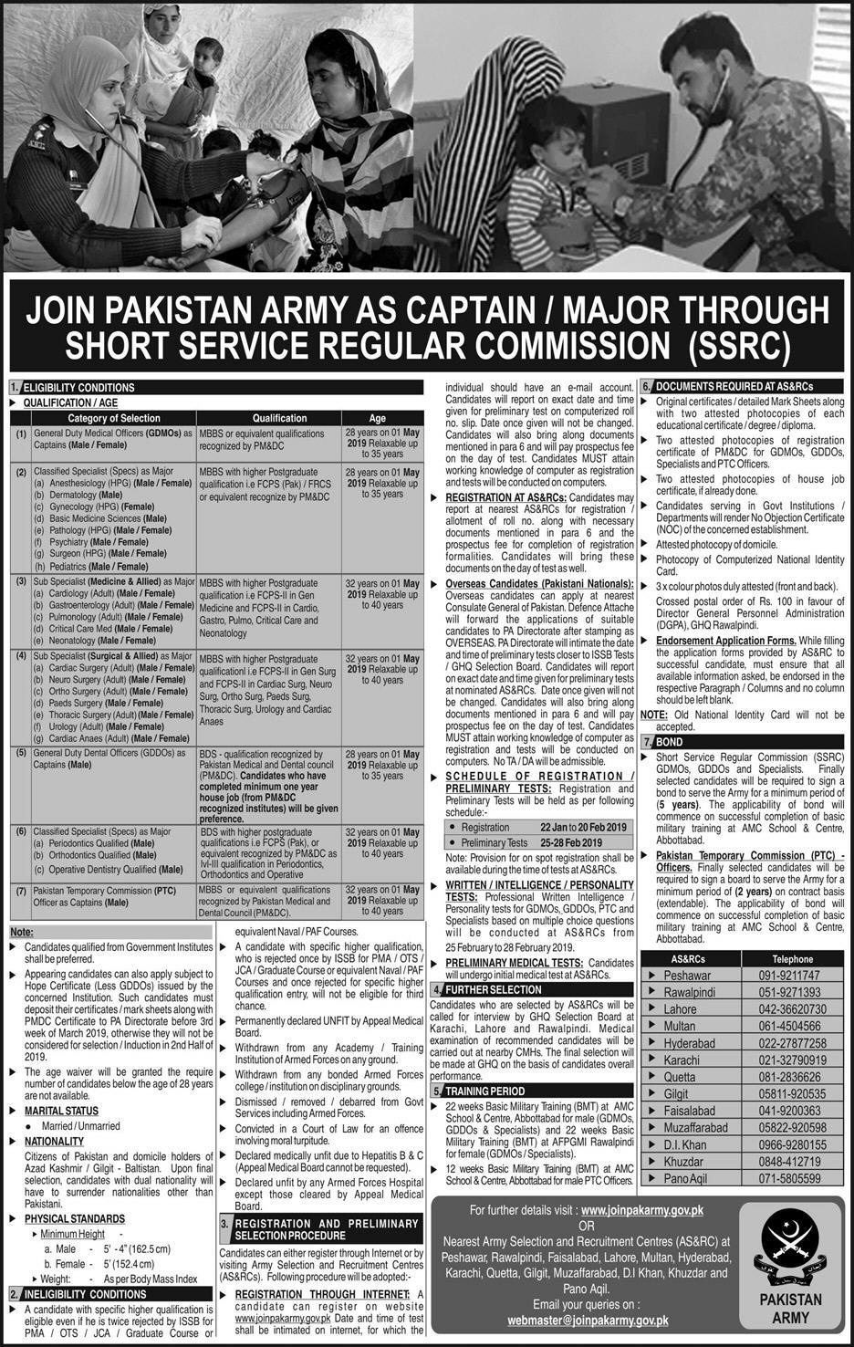 Pakistan Army Captain, Major Jobs 2019 Through SSRC Registration Form Online