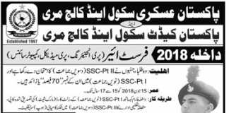 Pakistan Cadet School & College Murree Admission 2018