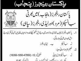 Pakistan Rangers Punjab Sub Inspector, Lady Rangers Jobs 2018 Application Form Written Test