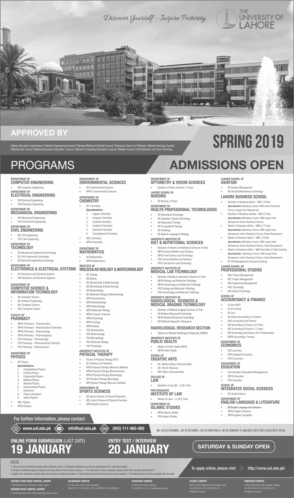 The University Of Lahore UOL Spring Admission 2019
