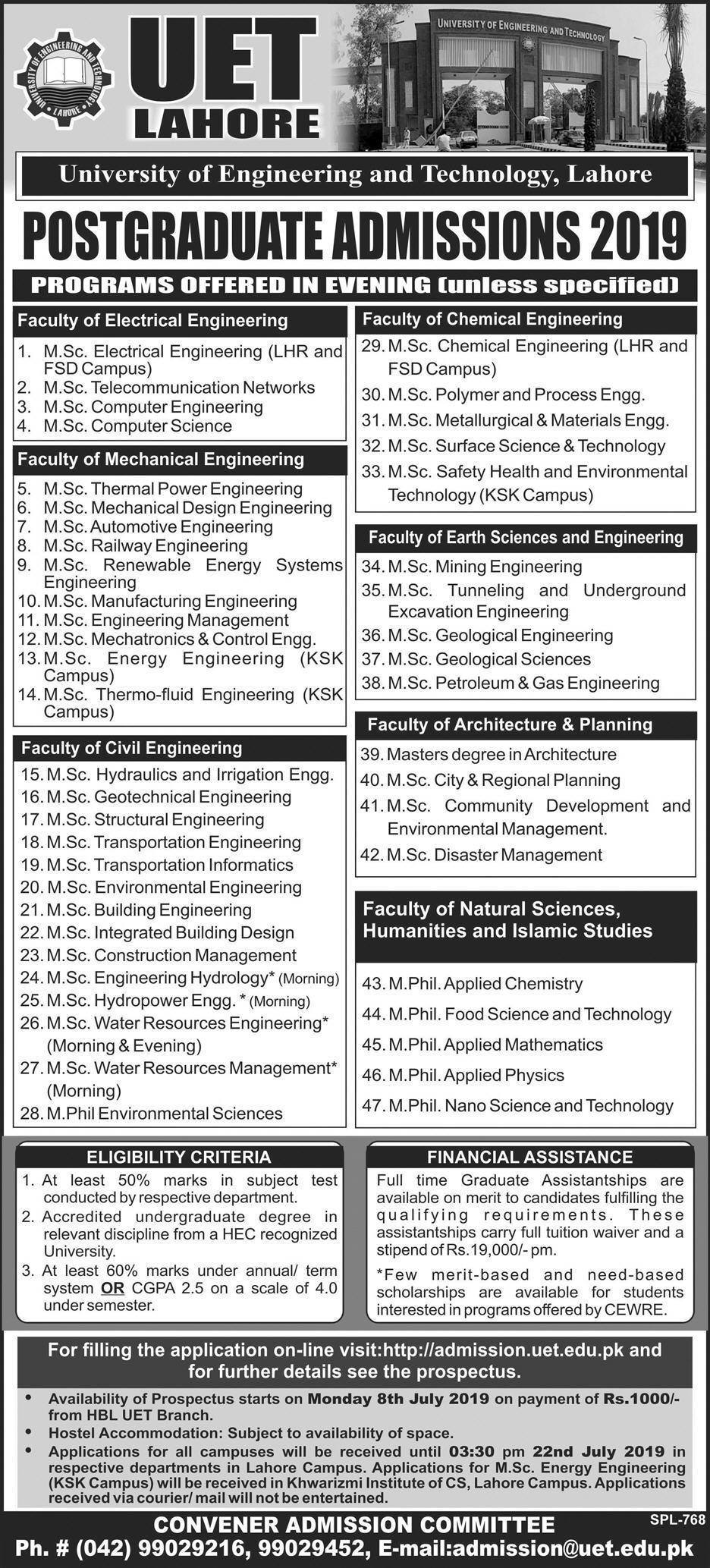 UET Lahore Postgraduate Admission 2019