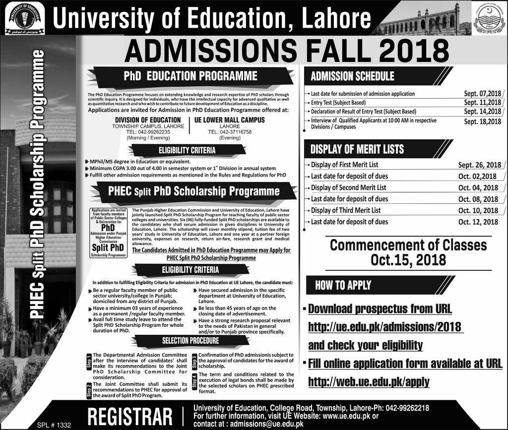 University of Education M.Phil, PhD Education Admission 2018