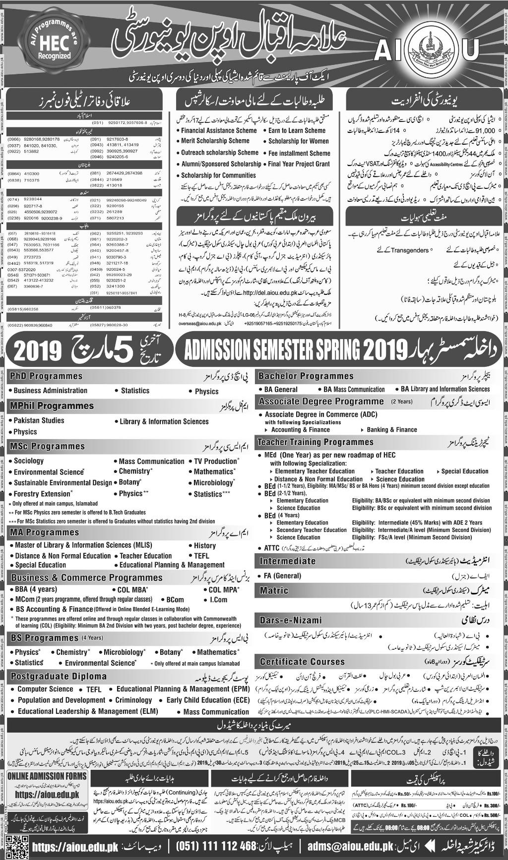 AIOU Spring Admission 2019 Form Last Date, Advertisement