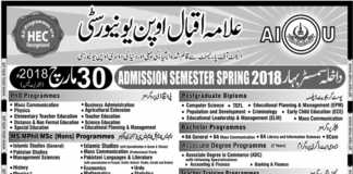 Allama Iqbal Open University Islamabad AIOU Spring Admission 2018