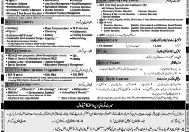 Allama Iqbal Open University Islamabad Spring Admission 2018