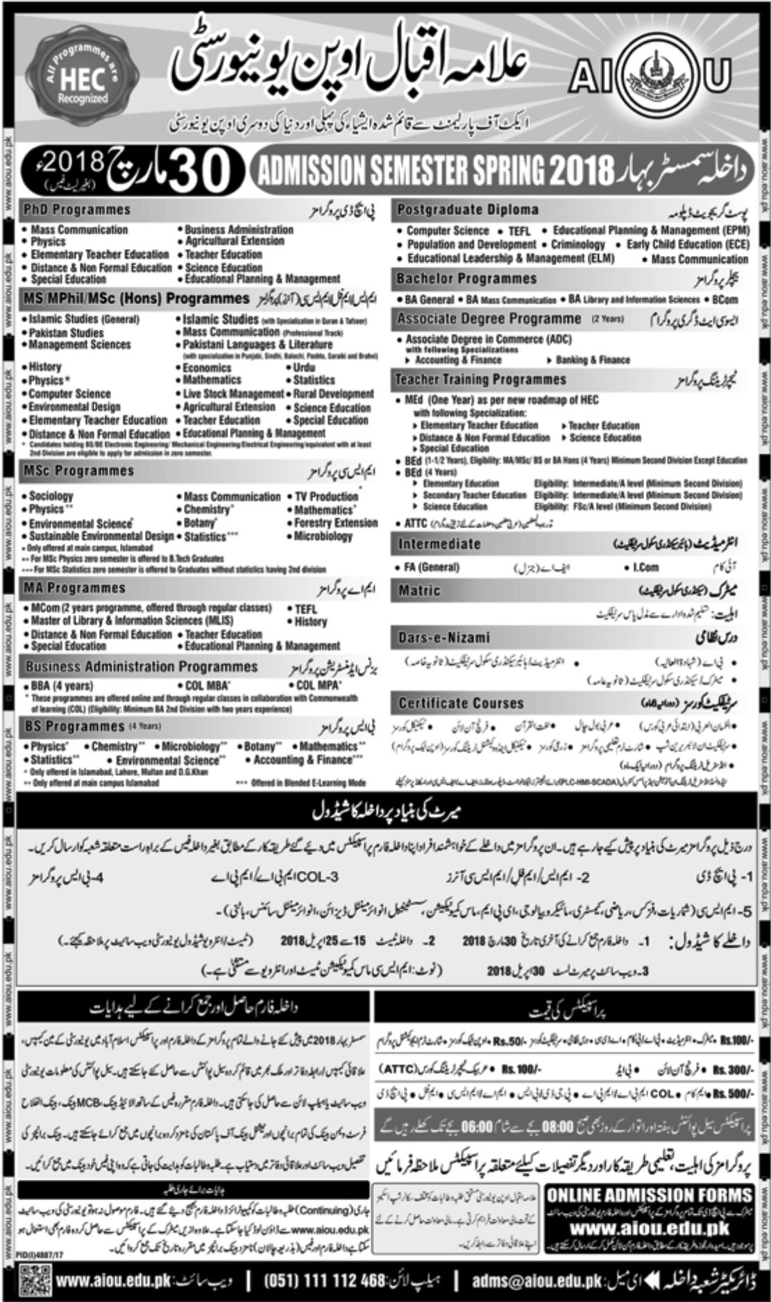 Allama Iqbal Open University Islamabad AIOU Spring Admission 2018