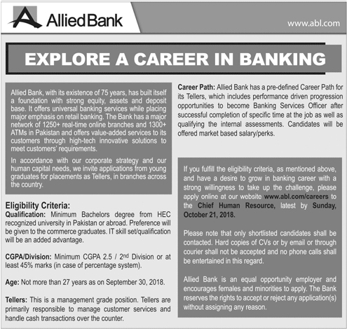 Allied Bank ABL Jobs 2018