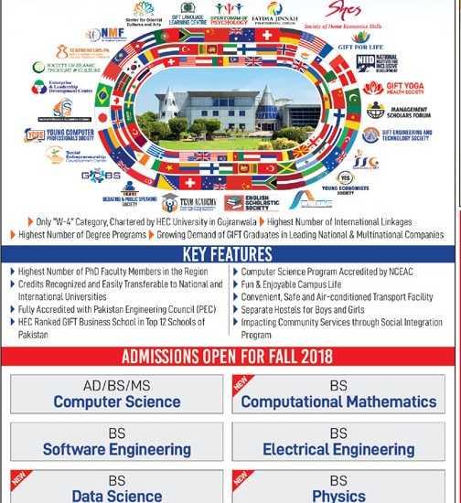 GIFT University Gujranwala Admission 2019 Last Date