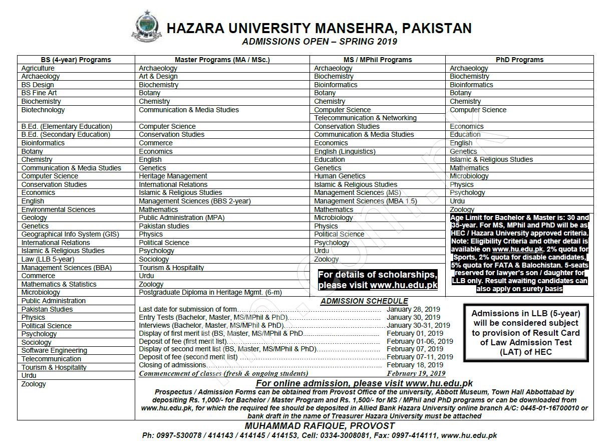 Hazara University Spring Admission 2019 Form Entry Test Result