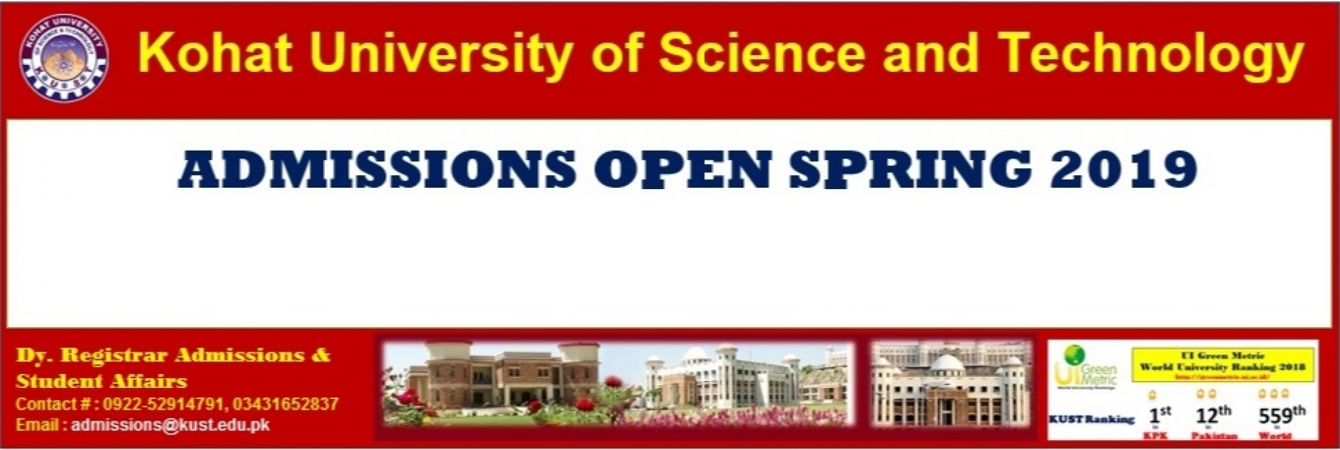 Kohat University of Science And Technology KUST Admission 2019