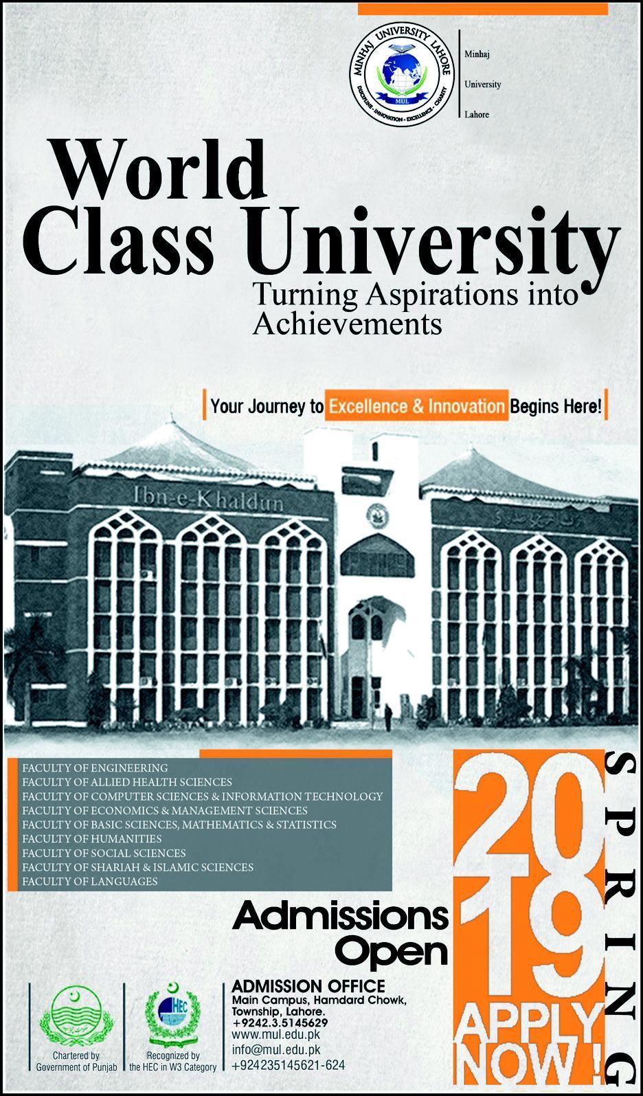 Minhaj University Lahore Spring Admission 2019