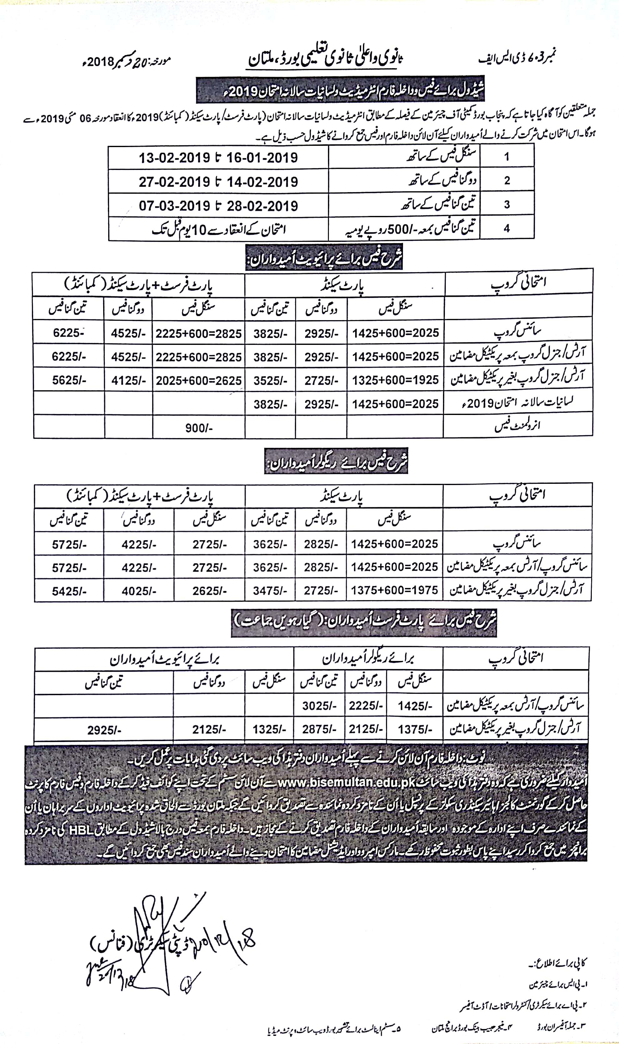 Multan Board Intermediate Admission Form 2019