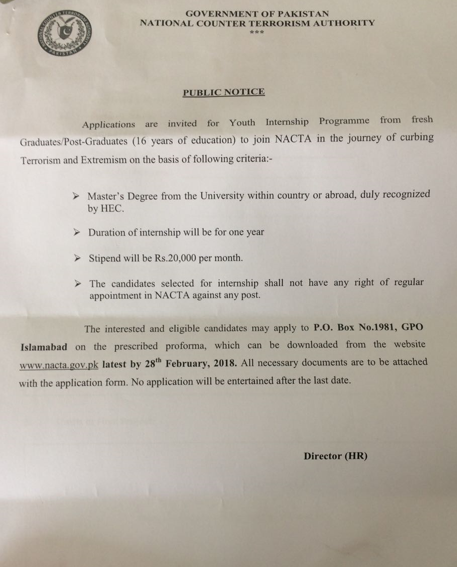 NACTA Internship 2018 Youth Internship Program Application Form Last Date