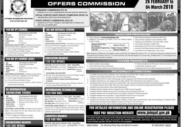 Pakistan Air Force Commission Jobs 2018 Online Registration