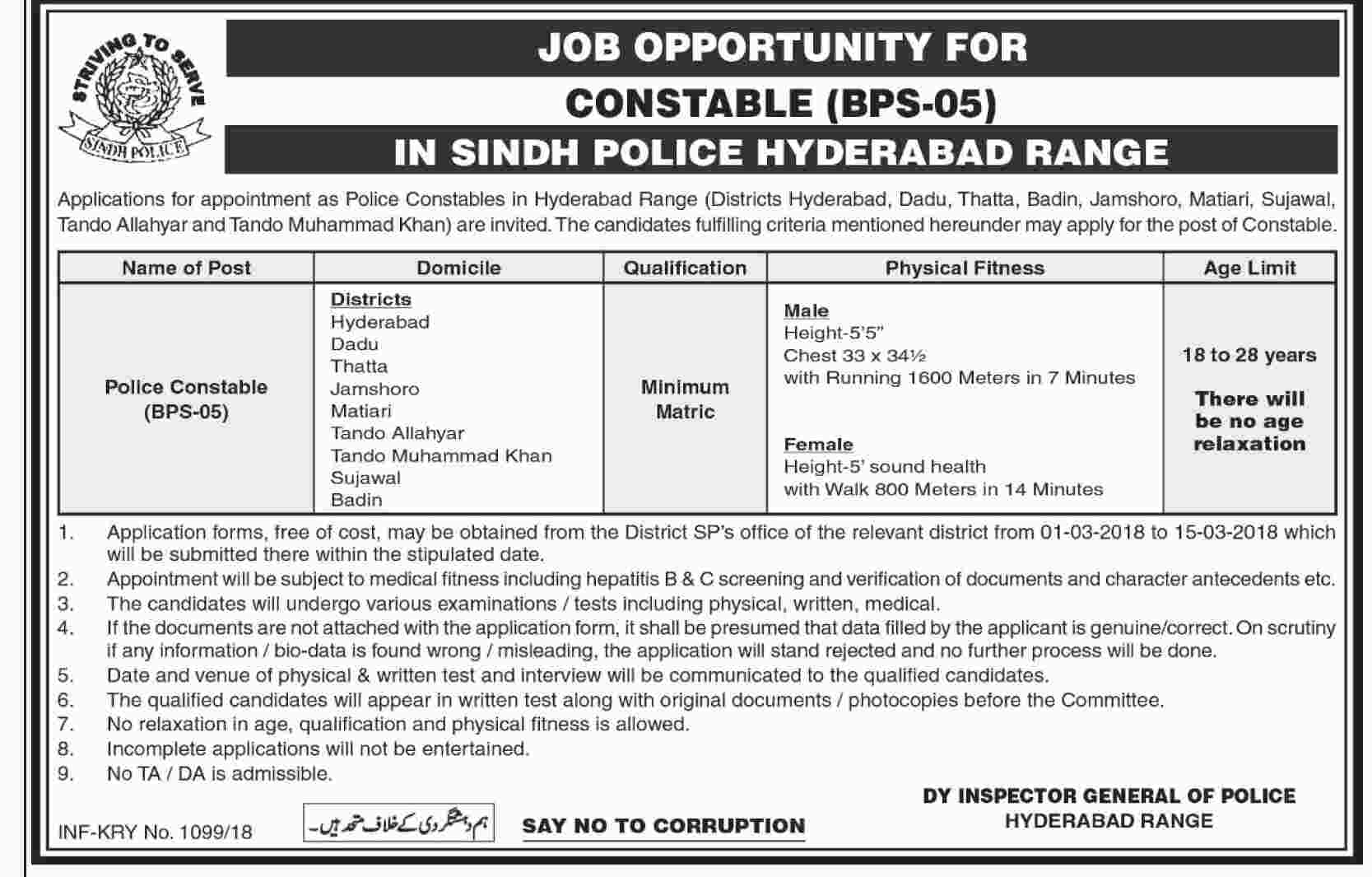 Sindh Police Hyderabad Range Jobs 2018 Constable Application Form Test Date