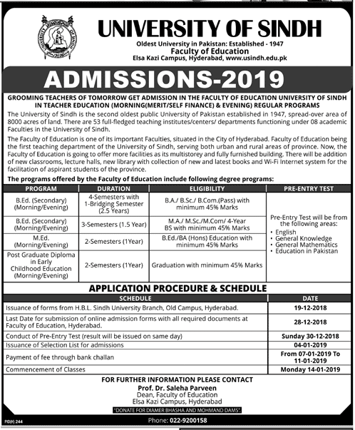 Sindh University B.Ed, M.Ed Admission 2019 Form