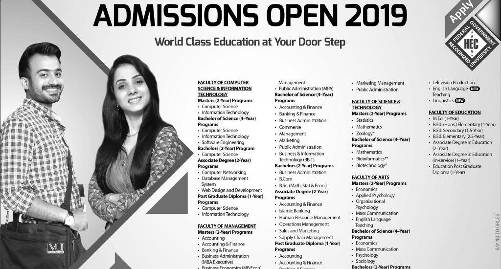 Virtual University B.Ed Admission 2019