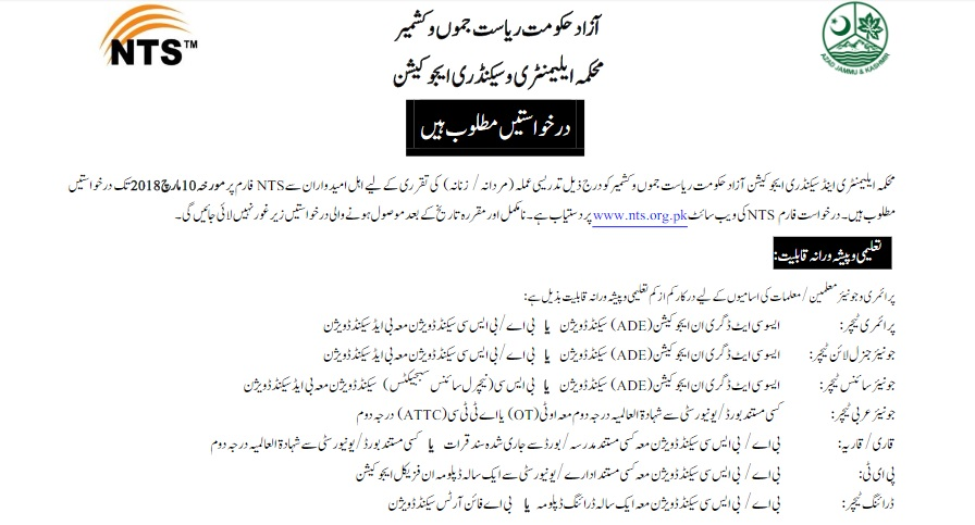 Elementary and Secondary Education AJK Jobs 2018 NTS Application Form Last Date