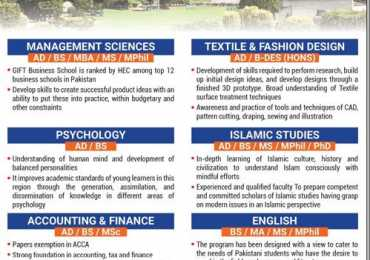 GIFT University Spring Admission 2018 Fee Structure