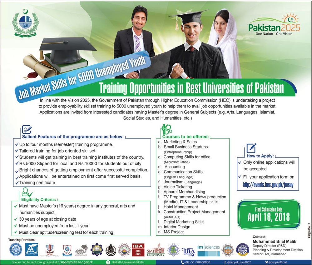 HEC Youth Training Job Market Skills 2018 Apply Online Form Last Date