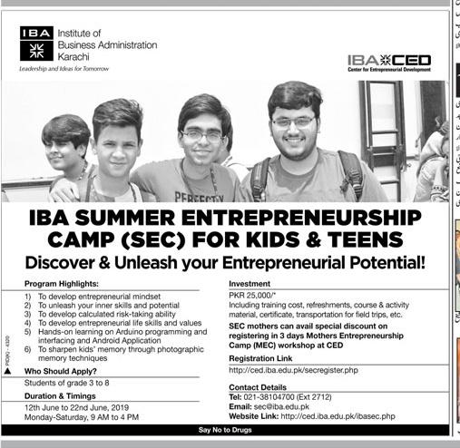 IBA Karachi Short Summer Courses 2019 Form, List, Fee