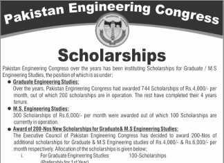 Pakistan Engineering Congress Scholarship 2018 Online Form Apply Last Date