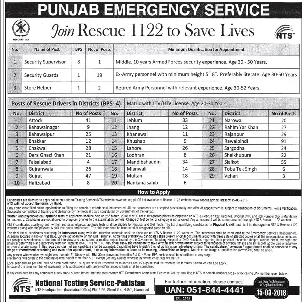 Rescue 1122 Jobs March 2018 Apply Online Driver, Security Guard