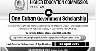 Cuban Medical Scholarship For Pakistani Students 2019