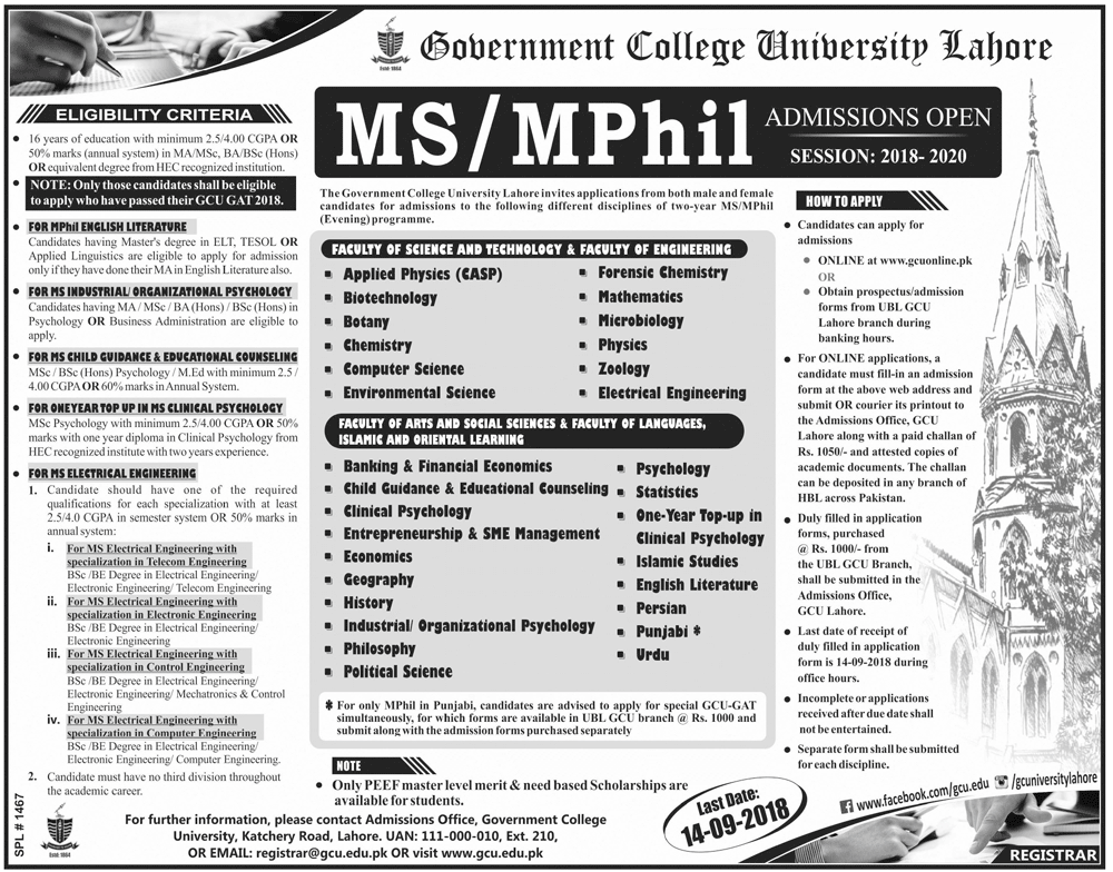 GCU Lahore MS, M.Phil Admissions 2018 GAT Test Date, Online Registration