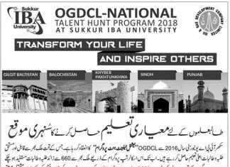 IBA Sukkur OGDCL National Talent Hunt Program 2018 Form Test Date
