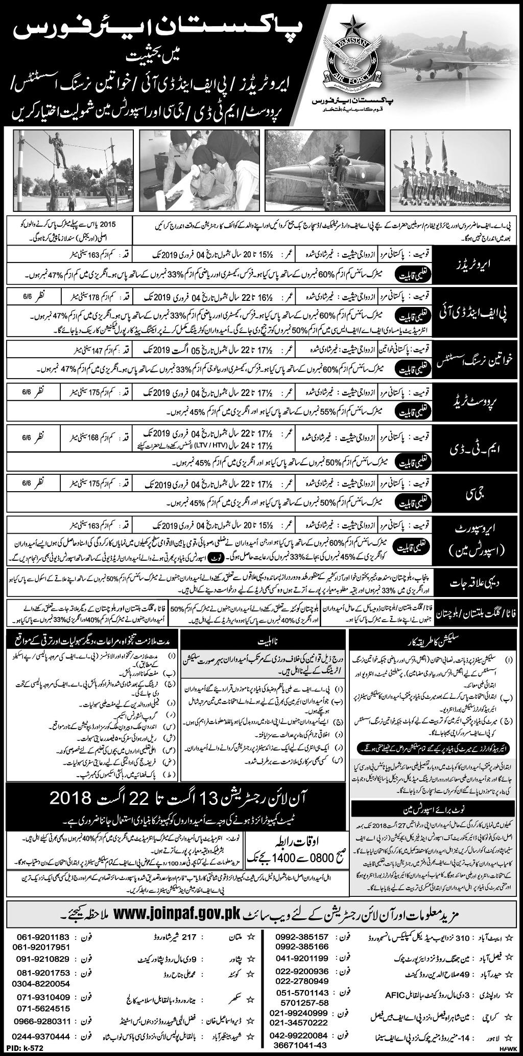 Join Pak Air Force PAF as Aero Traders, GC, PF&DI, MTD, Sportsman 2018 Online Registration