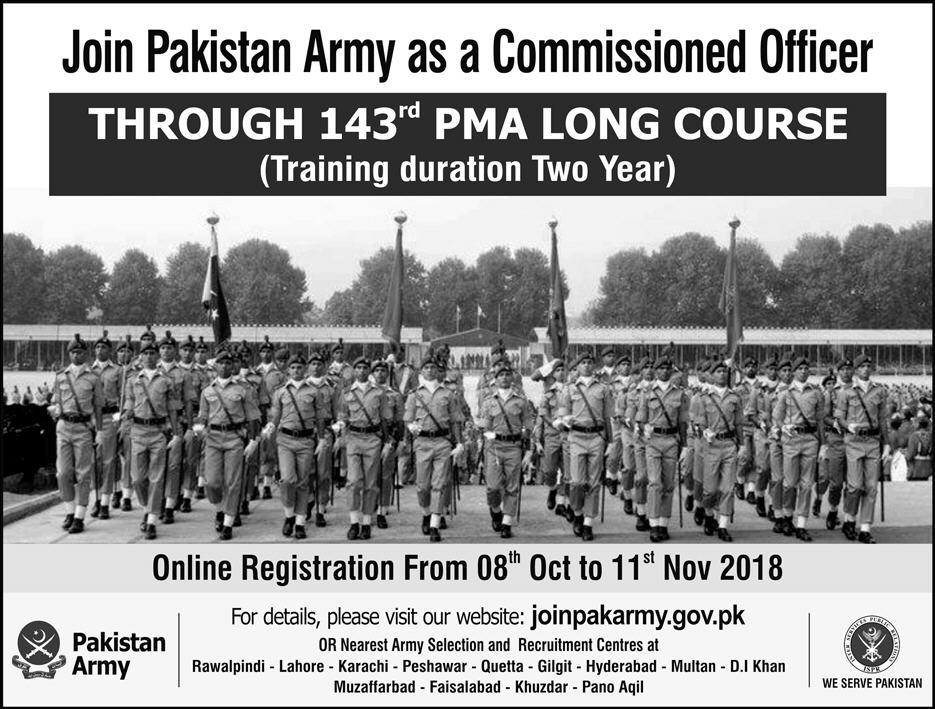 Join Pakistan Army as Commission Officer 2018 PMA Long Course 143 Registration