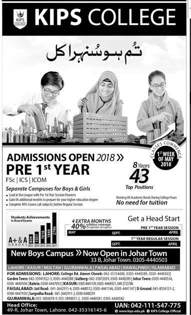 KIPS College Lahore Pre 1st Year Admission 2018 Contact Number Fee