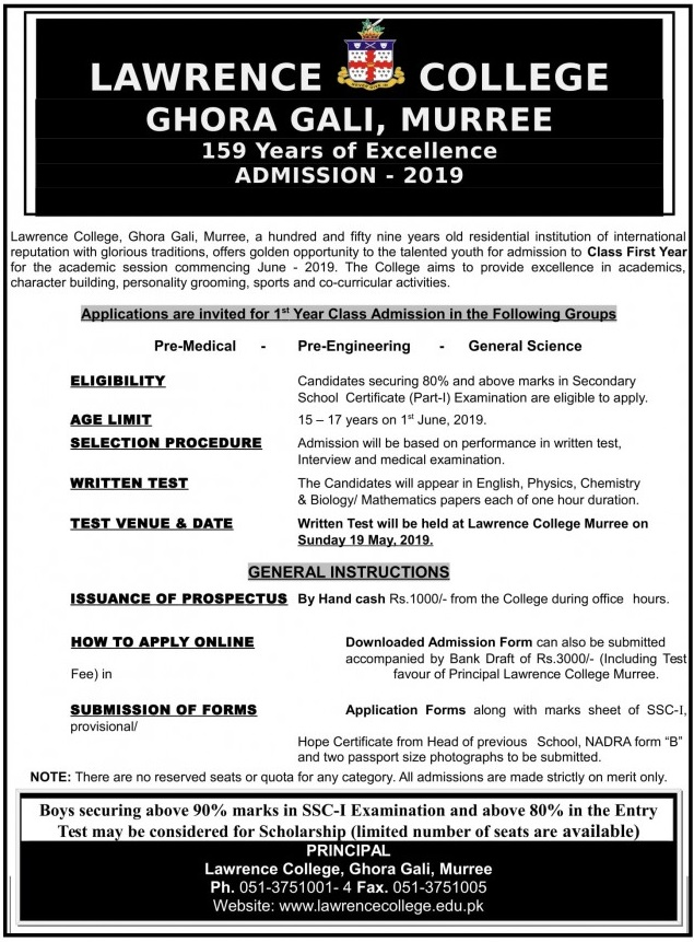Lawrence College Murree Admission 2019 1st Year Inter Form